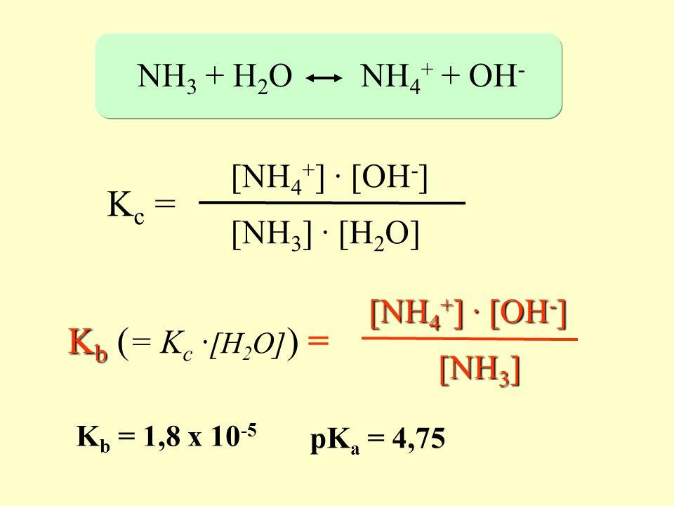 Kc = Kb (= Kc ·[H2O]) = NH3 + H2O NH4+ + OH- [NH4+] · [OH-]